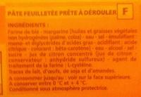 Pâte feuilletée prête à dérouler - Ingredients - fr