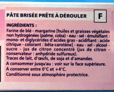 Pâte brisée - Ingrediënten - fr