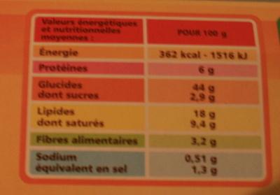 Pâte brisée - Voedingswaarden - fr