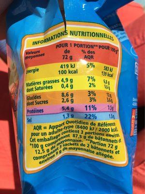 Mini bâtonnets saveur crabe - Informations nutritionnelles