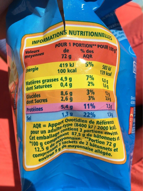 Mini bâtonnets saveur crabe - Informations nutritionnelles - fr
