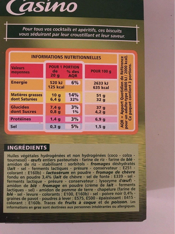 Choux Chevre Poivre 60G Co - Informations nutritionnelles - fr