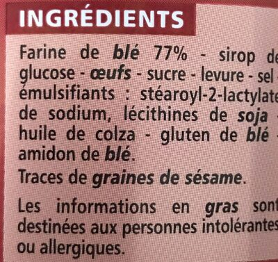 Toasts Briochés - Ingrediënten - fr