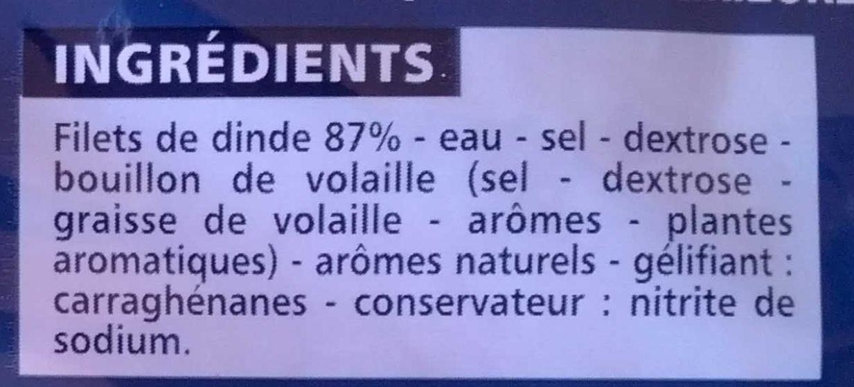 Blanc de Dinde 4 Tranches - Ingrédients - fr