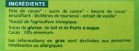 Chocolat noir bio 74% dégustation - Ingrédients - fr