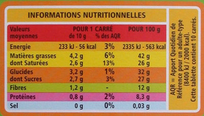 Chocolat noir bio 74% dégustation - Informations nutritionnelles - fr