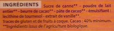 Chocolat lait dégustation – Pur beurre de cacao - Ingrédients - fr