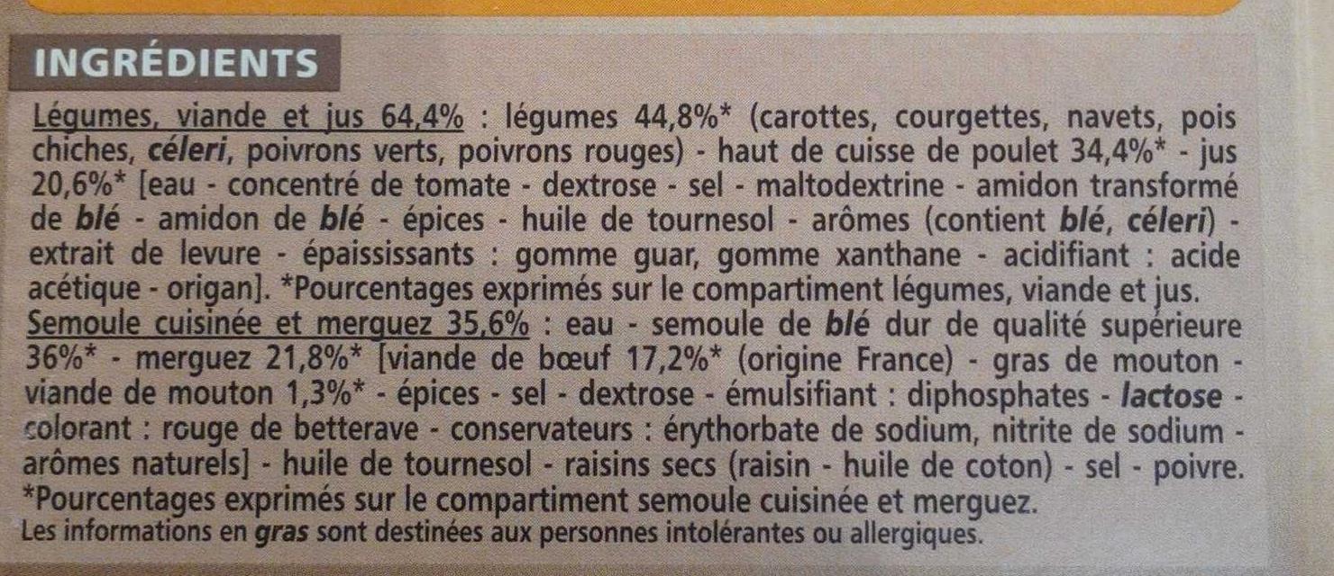 Couscous au poulet et merguez - Ingredients
