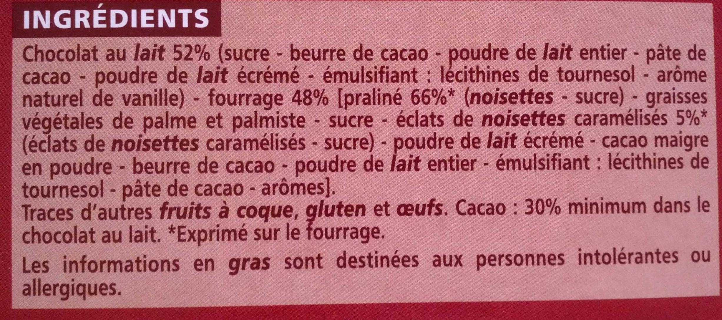 Chocolat supérieur - Lait praliné Nougatine - Ingrédients - fr