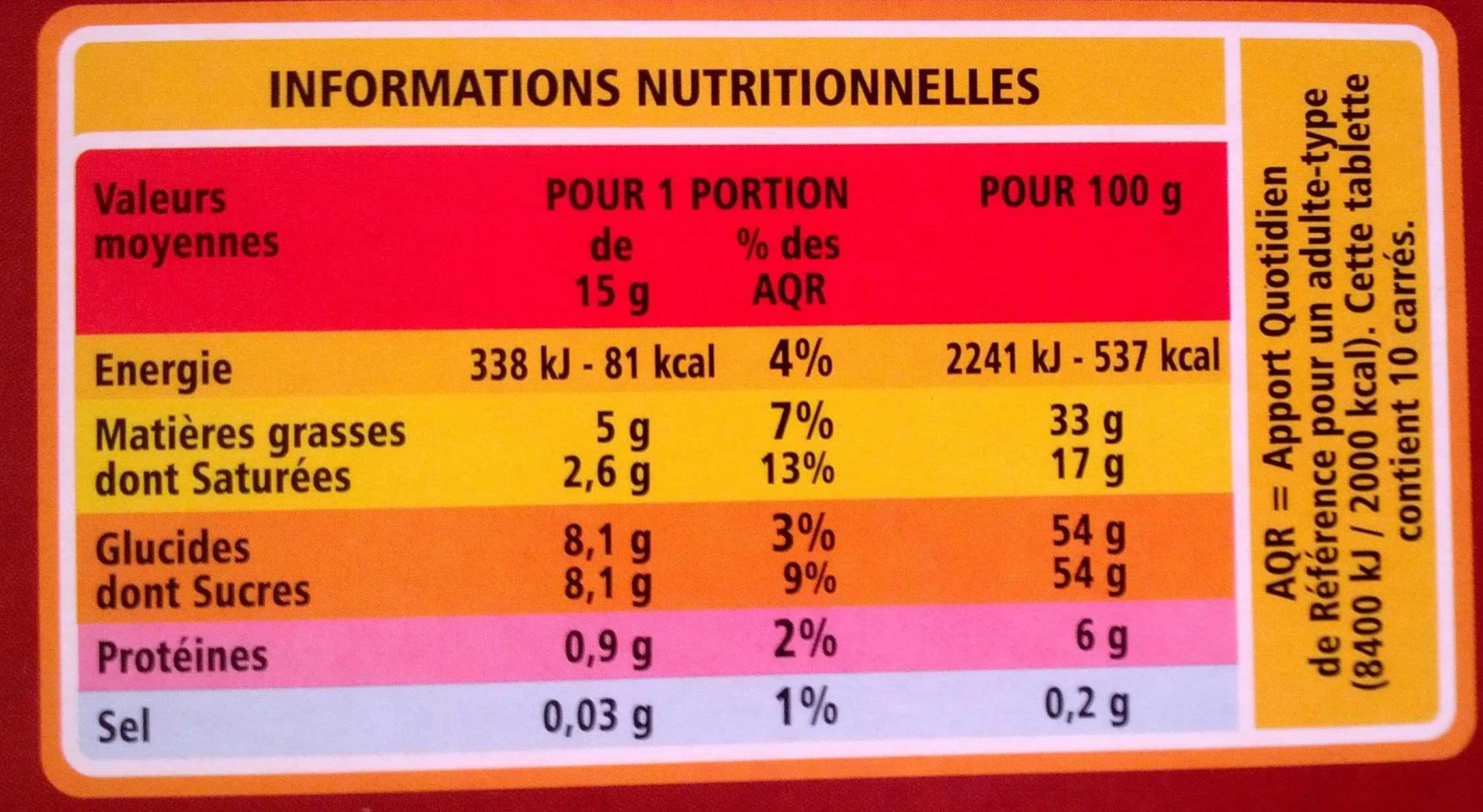 Chocolat supérieur - Lait praliné Nougatine - Informations nutritionnelles - fr