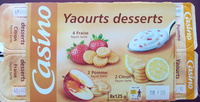 Yaourts desserts : 4 Fraise façon tarte, 2 Citron façon tarte, 2 Pomme façon tarte. - Produit - fr