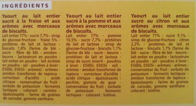 Yaourts desserts : 4 Fraise façon tarte, 2 Citron façon tarte, 2 Pomme façon tarte. - Ingrédients - fr
