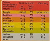 P'tits biscuits fourrage au lait - Voedigswaarden