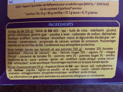 Kit pour Burritos - Ingredients - fr
