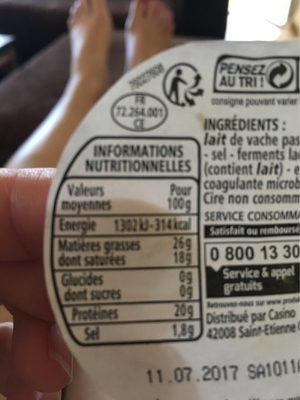 Fromage rond rouge - Informations nutritionnelles - fr
