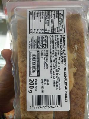 MAXI Poulet rôti - pain de mie complet - 1