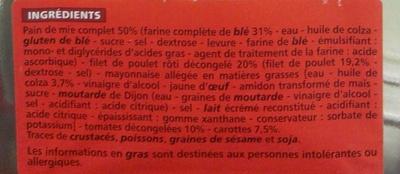MAXI Poulet rôti - pain de mie complet - Ingrédients