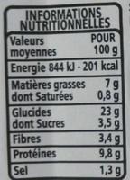 MAXI Poulet rôti - pain de mie complet - Informations nutritionnelles