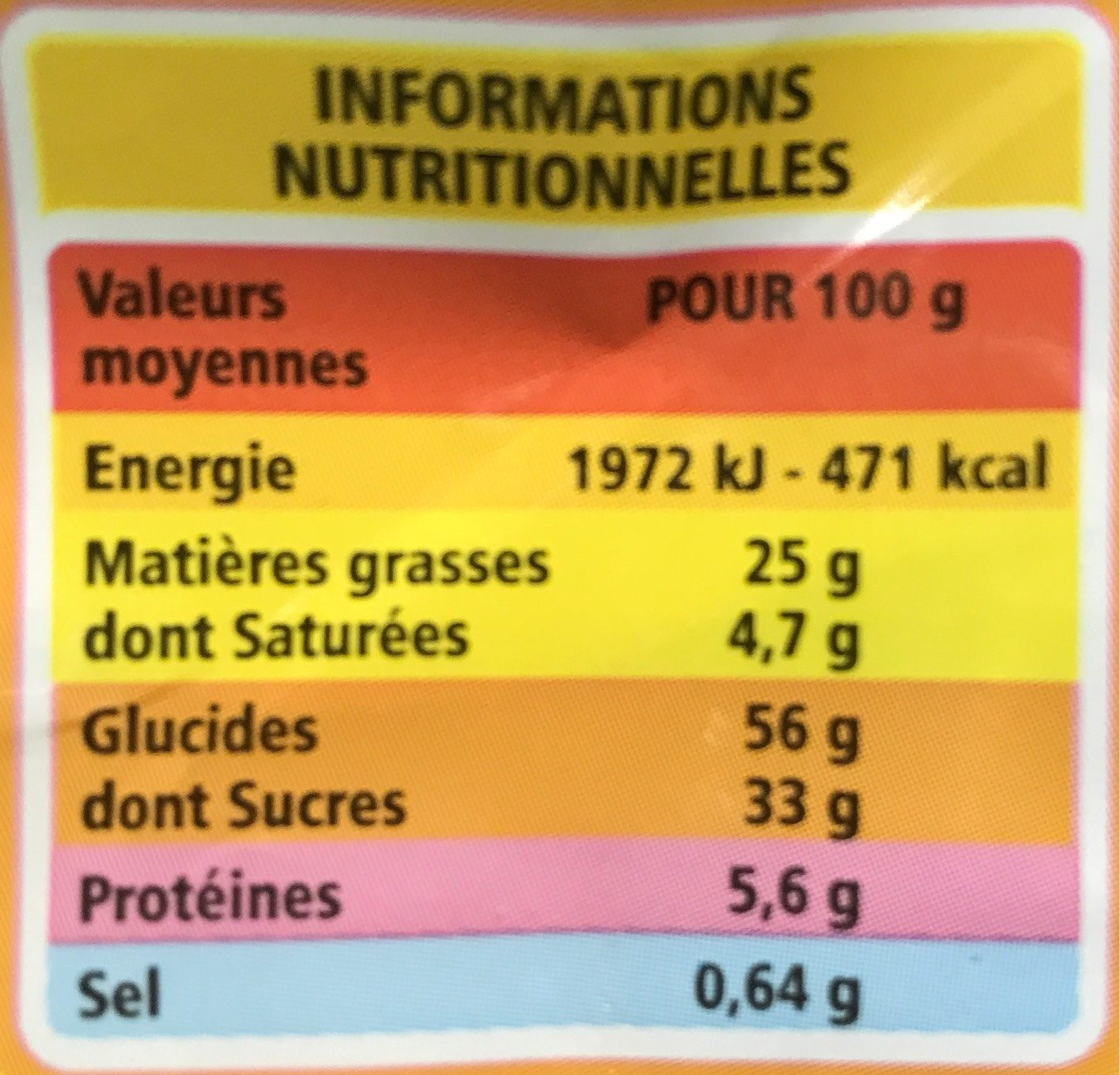 Madeleines coquilles BIO - Nutrition facts