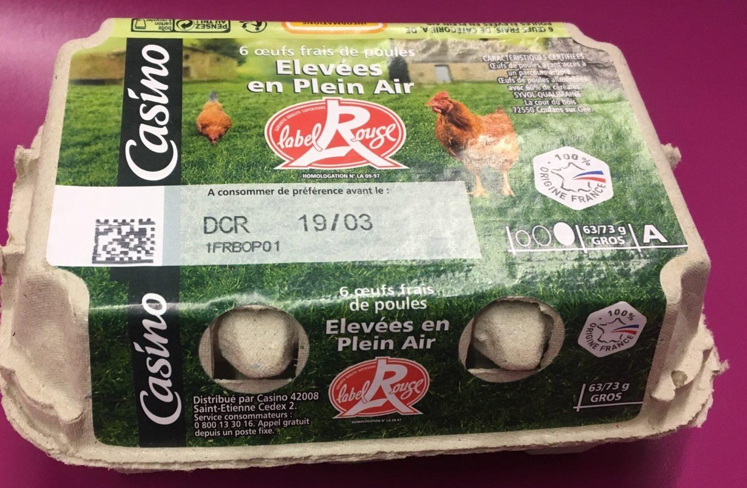 6 Oeufs frais de poules élevées en plein air - gros - Product - fr