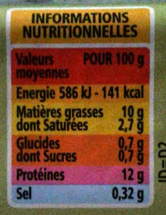 6 Oeufs frais de poules élevées en plein air - gros - Informations nutritionnelles - fr