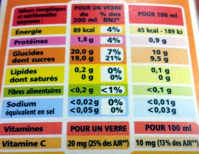 100% Pur Jus Clémentine Flash pasteurisé - Naturellement riche en vitamine C - Nutrition facts