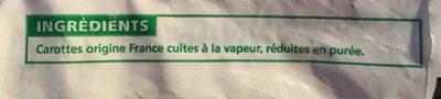 Purée De Carottes Portionnable 750g (surgelés) - Ingrédients