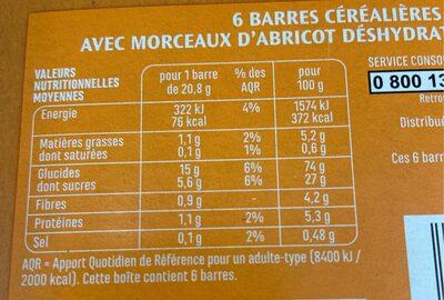 Barres céréales abricot - Voedingswaarden - fr