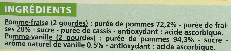 Compote pocket Pomme-Fraise / Pomme-Vanille - Ingrediënten - fr