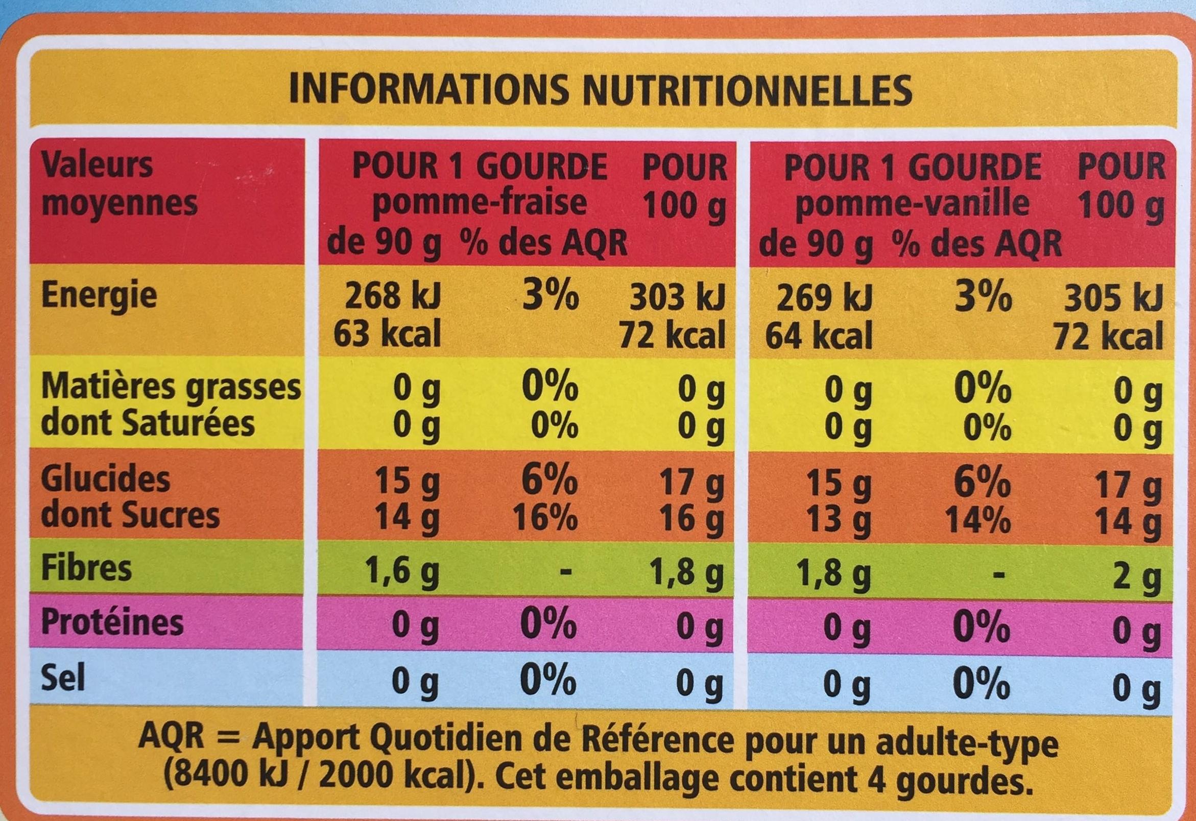Compote pocket Pomme-Fraise / Pomme-Vanille - Voedingswaarden - fr