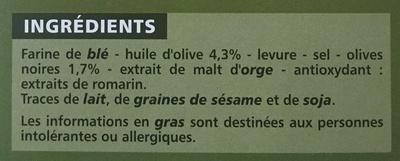 Flûtes Olives Noires - Ingrediënten