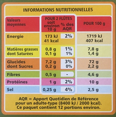 Flûtes Olives Noires - Voedingswaarden