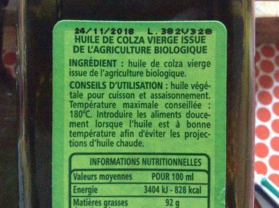Huile de colza vierge biologique riche en oméga 3 source de vitamine E - Produit - fr