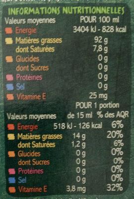 Huile de colza vierge biologique riche en oméga 3 source de vitamine E - Informations nutritionnelles - fr