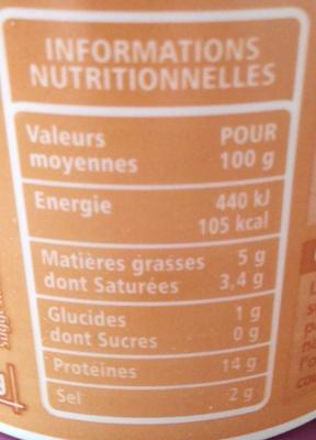 Cancoillotte nature - Informations nutritionnelles - fr