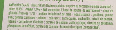 Yaourts crémeux aux fruits avec morceaux (fraise - abricot - poire - nectarine - mûre - cerise) - Ingrédients - fr