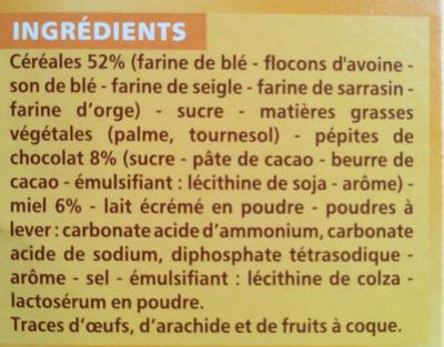 Biscuits Matin Miel et Pépites de Chocolat - Ingrédients - fr