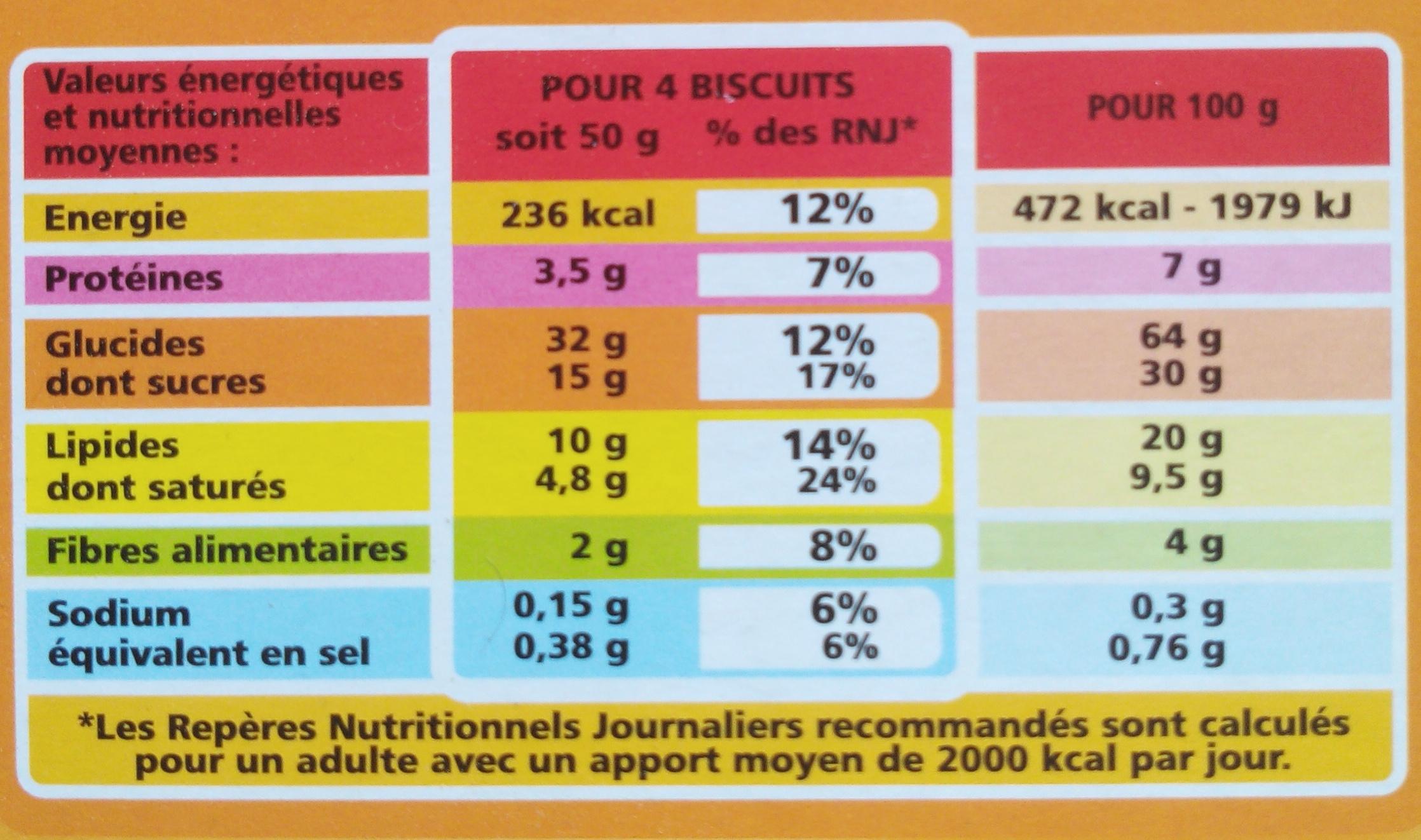Biscuits Matin Miel et Pépites de Chocolat - Informations nutritionnelles - fr