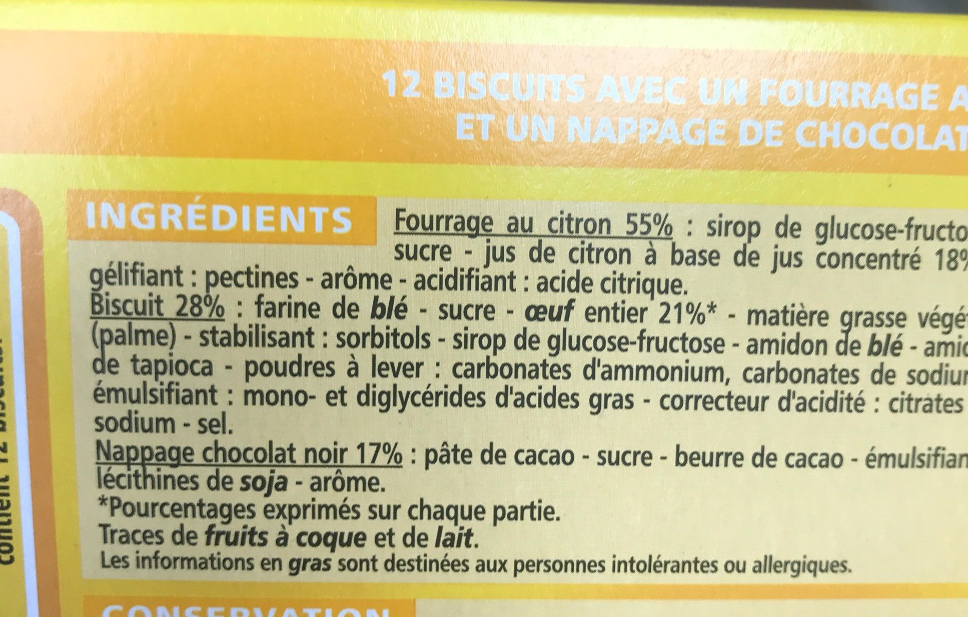 Génoise Fourrée Citron - Ingrediënten