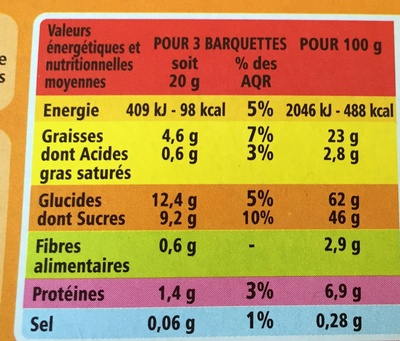 Barquettes Choco-Noisette - Nutrition facts