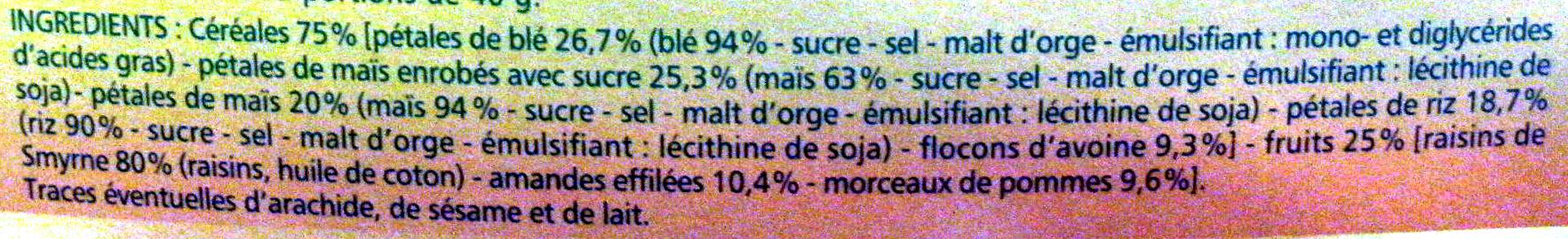 Muesli aux 4 céréales et aux fruits - Ingredients - fr