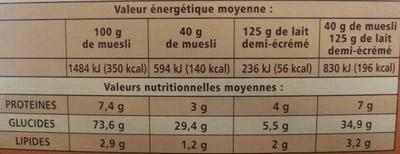 Muesli aux 4 céréales et aux fruits - Nutrition facts - fr