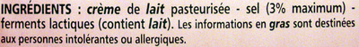 Beurre traditionnel demi-sel - Ingrédients - fr
