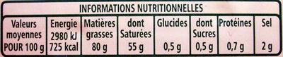 Beurre traditionnel demi-sel - Informations nutritionnelles - fr