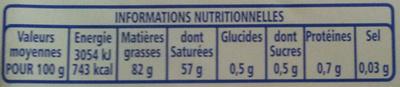 Beurre Traditionnel Doux - Informations nutritionnelles