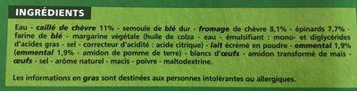 Lasagne chèvre épinards - Ingrédients