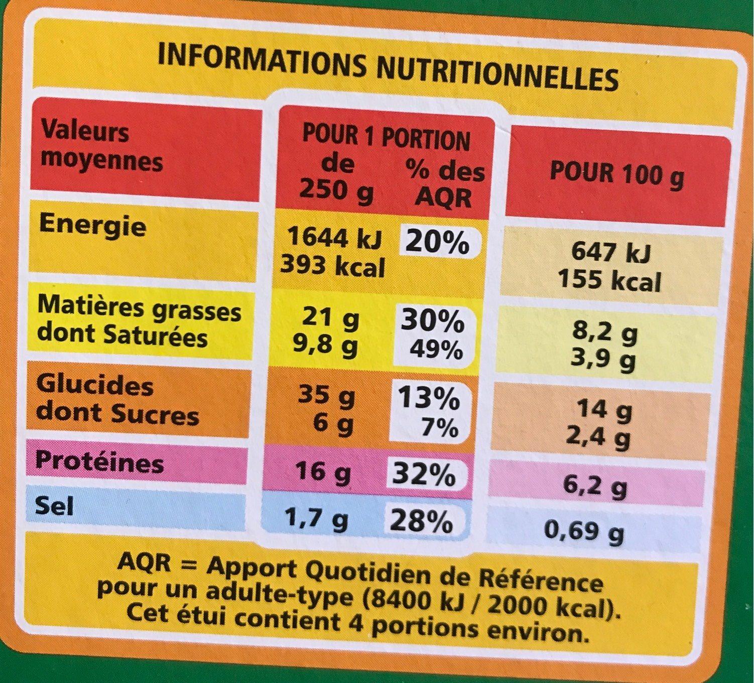 Lasagne chèvre épinards - Informations nutritionnelles - fr