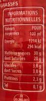 Crème fluide entière 2x25cl - Voedigswaarden