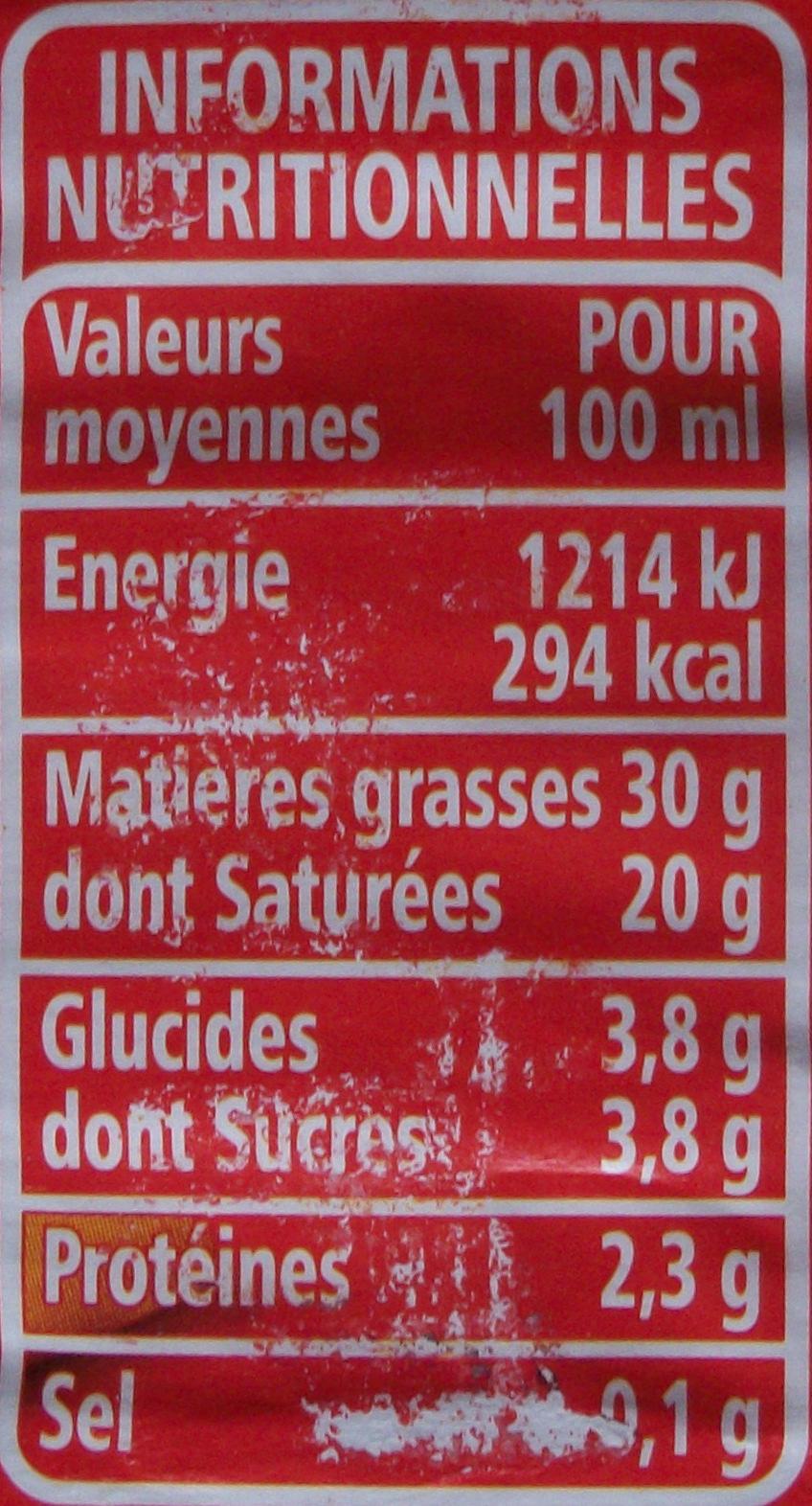 Crème Entière Fluide (30 % MG) - Informations nutritionnelles - fr