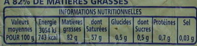 Beurre traditionnel doux - Nutrition facts - fr